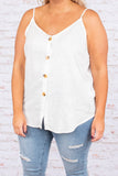 tank, spaghetti straps, white, solid, vneck, button down, thin, curved hem