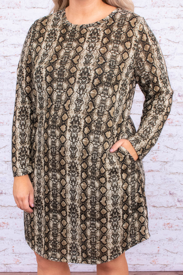 dress, short, long sleeve, curved hem, pockets, loose, brown, snakeskin, comfy