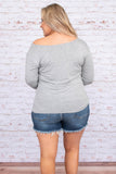 shirt, long sleeve, curved hem, short, fitted, off the shoulder, boat neck, twisted neckline, gray, comfy