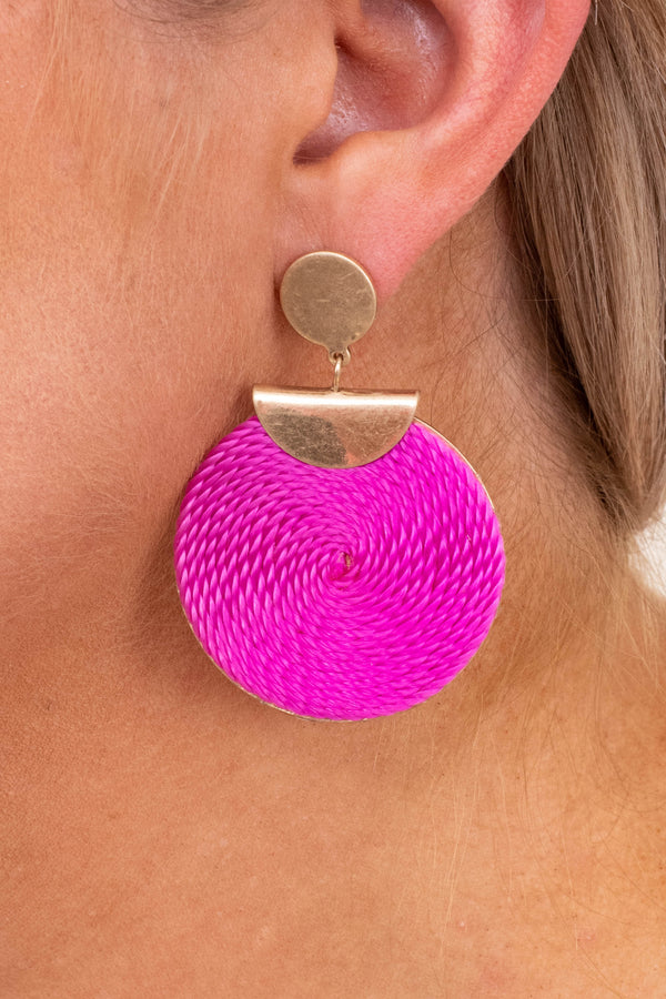 earrings, dangly, gold, pink, bright pink, fuchsia, circles