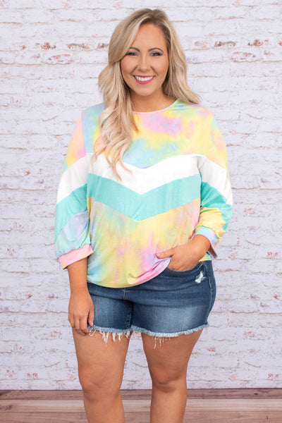 shirt, three quarter sleeve, fitted waistband, chevron, tie dye, mint, yellow, pink, white, comfy