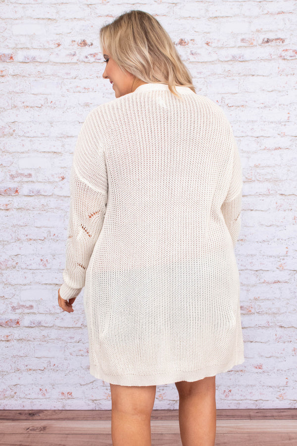 cardigan, long sleeve, long, pockets, flowy, loose knit, white, comfy, outerwear