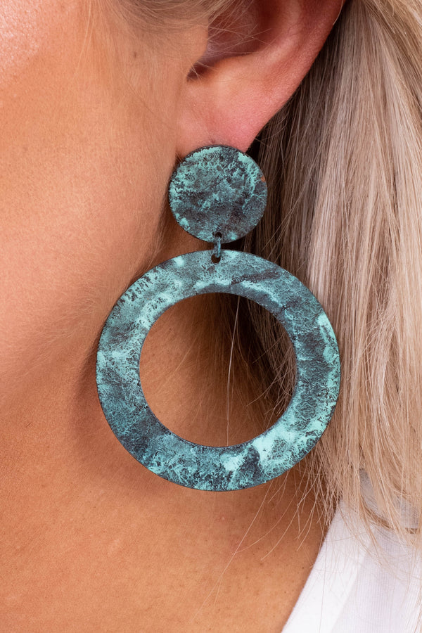 earrings, dangly, studs, circle pendants, patina, green, gray