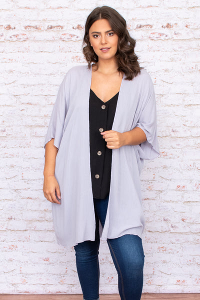 grey, open front, short sleeve, kimono, long, above the knee, solid, neutral