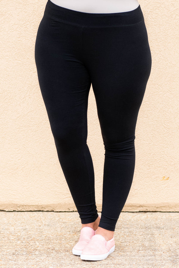 leggings, black, solid, long, comfy