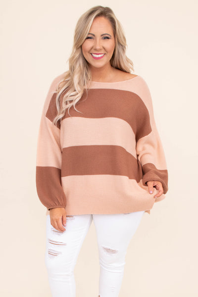 sweater, long sleeve, bubble sleeves, long, longer back, flowy, blush, mocha, striped, comfy