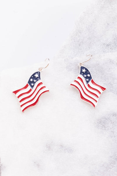 earrings. hanging, flag, american flag, red, white, blue, silver