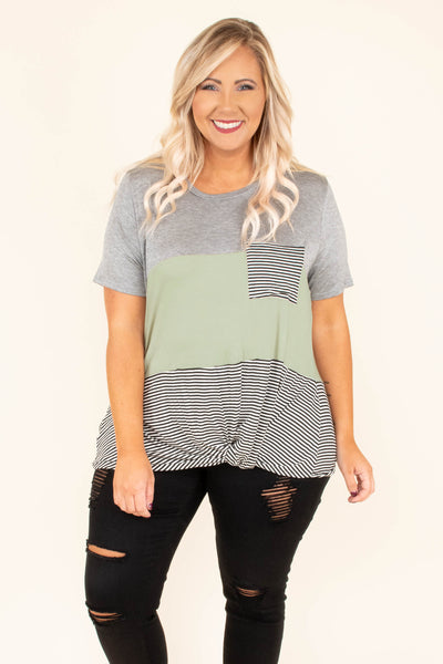 top, gray, sage, black and white striped, pockets, twist waist, short sleeve, color block