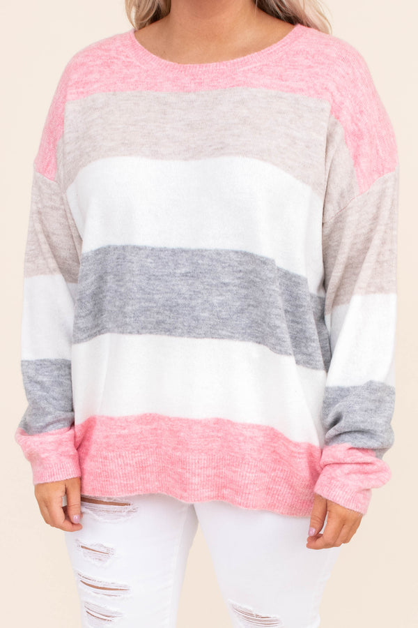 sweater, long sleeve, long, loose, pink, beige, white, gray, colorblock, comfy