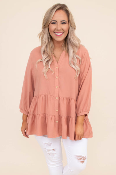 Weekend Babe Blouse, Blush