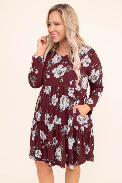 dress, short, long sleeve, babydoll, tiered, pockets, flowy, burgundy, floral, white, gray, comfy
