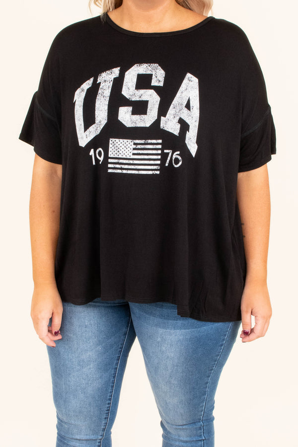 shirt, short sleeve, graphic, black, usa, flag, 1976, white graphics, comfy, loose