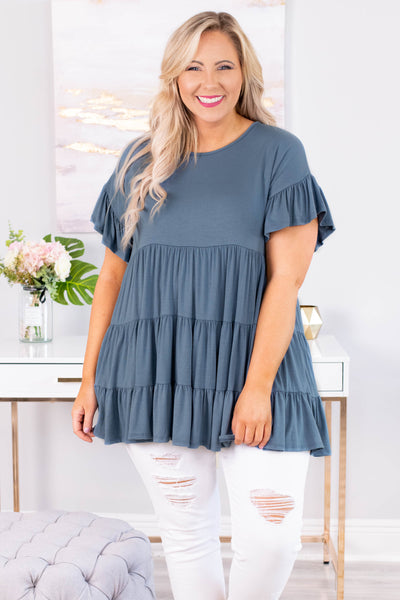 tunic, short sleeve, babydoll, tiered, flowy, ruffle sleeves, long, blue, comfy