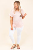 top, short sleeve, v neck, flowy, pocket, gold glitter, blush
