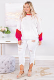 sweater, long sleeve, bubble sleeves, short, white, colorblock sleeves, red, pink, red neckline, comfy