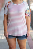 shirt, short sleeve, long, blush, white, striped, floral sleeves, comfy