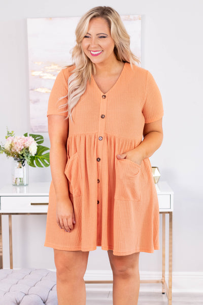 dress, short, short sleeve, vneck, button down, babydoll, waffle knit, pockets, flowy, orange, comfy, spring, summer