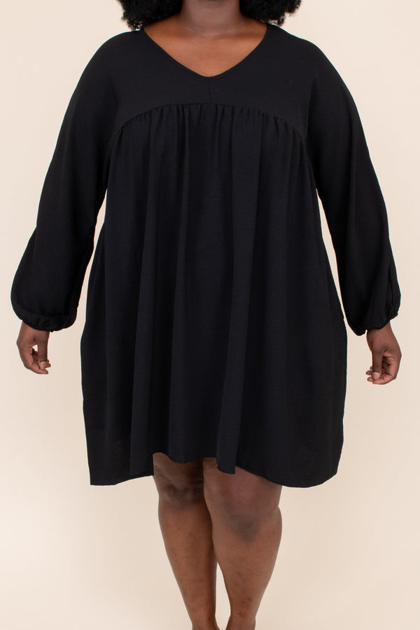 dress, solid, balloon sleeves, neutral, black, short, above the knee, flowy, figure flattering