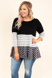tunic, three quarter sleeve, ruffles, black, gray, white, stripes, polka dots, colorblock, flowy, comfy