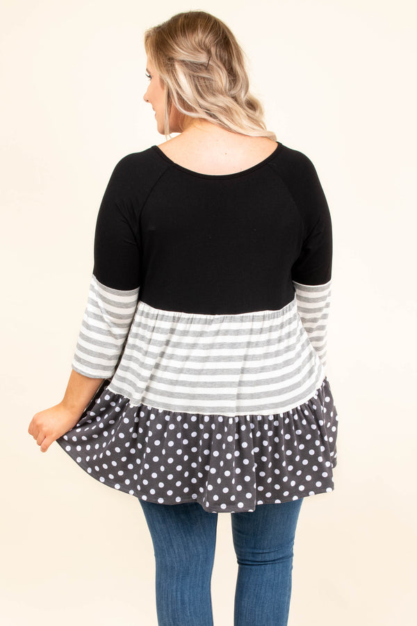 Come So Far Tunic, Black-Gray