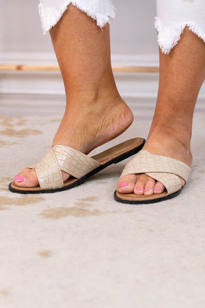 sandals, slide ons, crisscross straps, open toed, beige