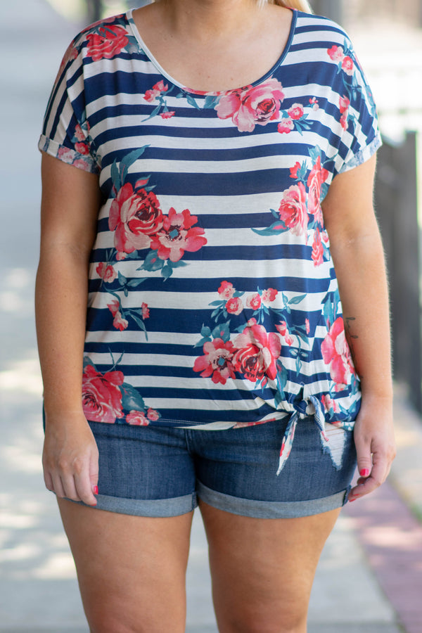 shirt, short sleeve, tie hemline, short, navy, white, striped, floral, red, green, comfy, spring, summer