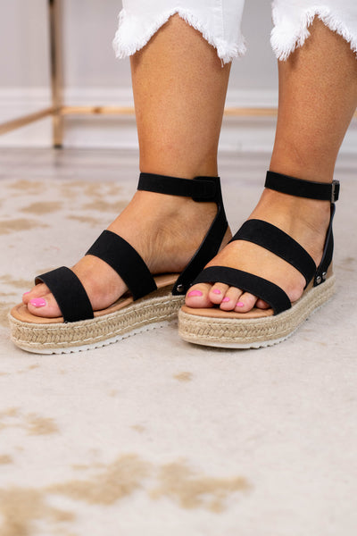 sandals, platform, rope sole, open toed, open heel, ankle strap, double foot straps, black