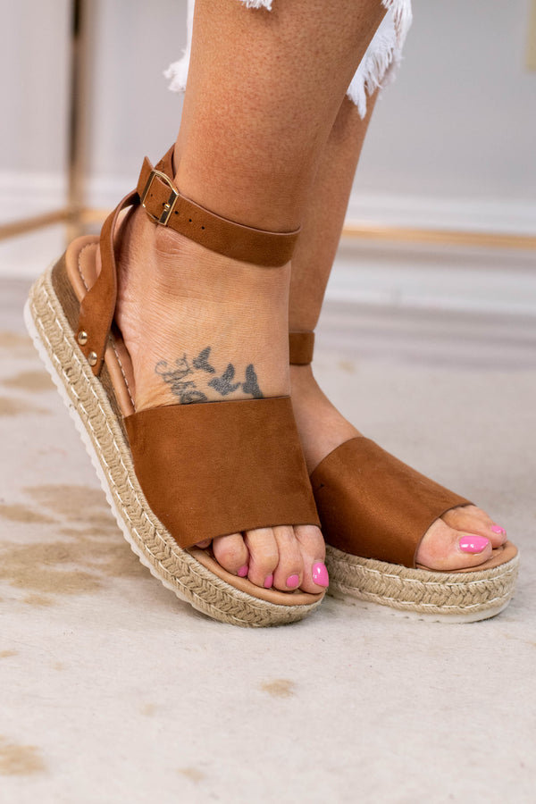 sandals, platform, rope sole, open toed, open heel, ankle strap, over foot strap, tan, comfy
