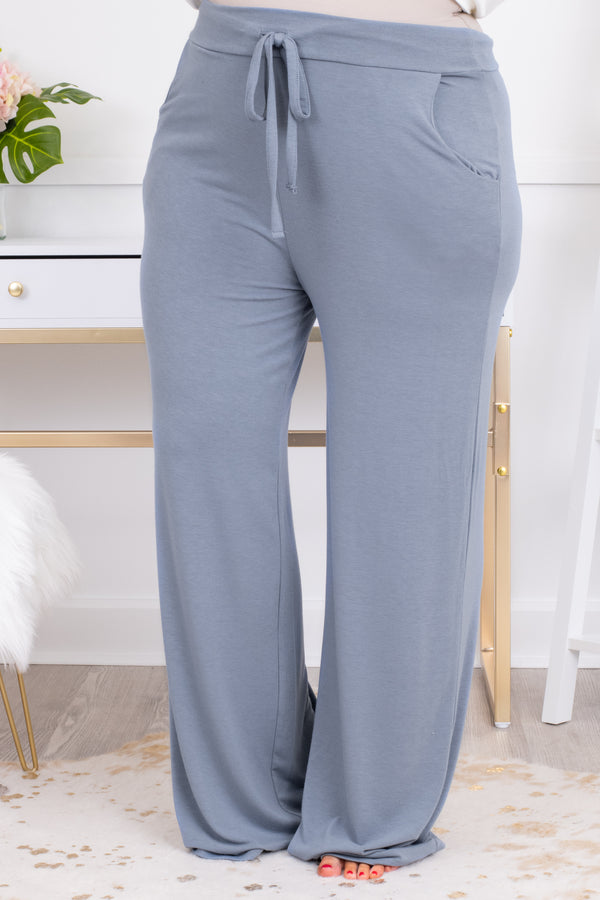 pants, long, lounge pants, pockets, draw string, loose, comfy, cement, gray blue
