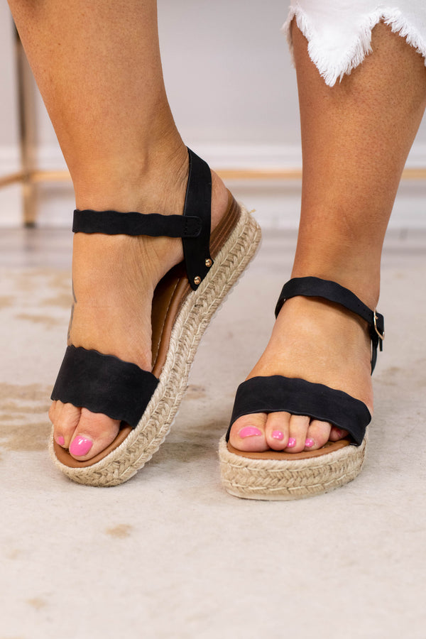 wedges, platform, open toed, open heel, rope heel, scalloped edge, straps, black