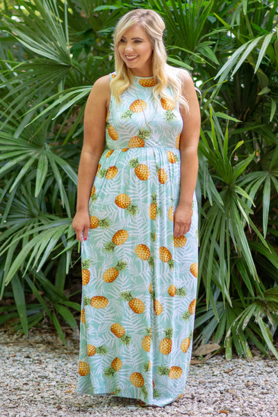 Let's Get Tropical Maxi Dress, Mint