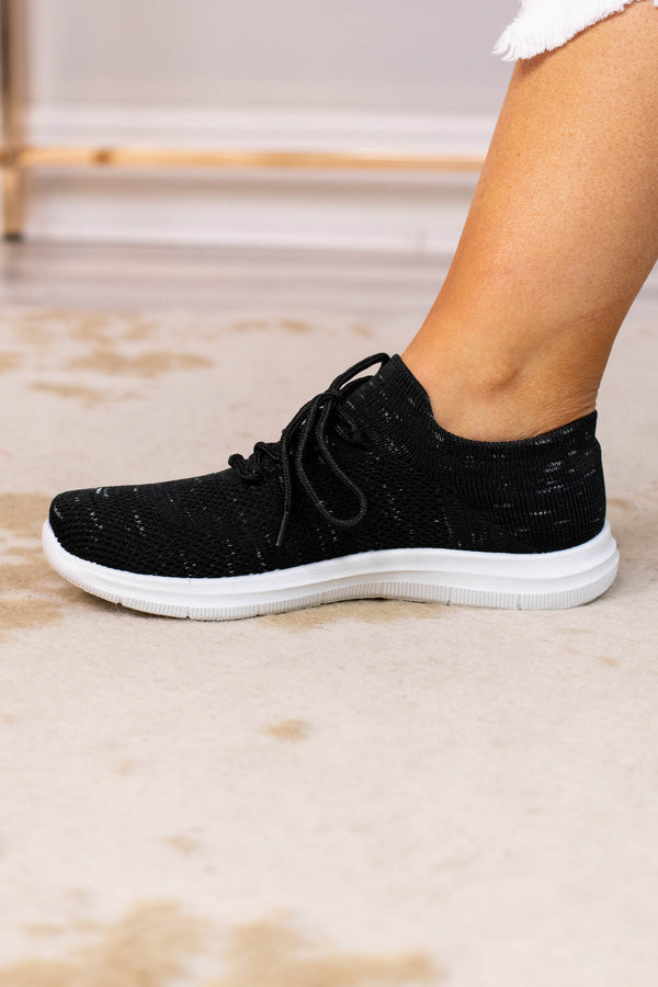 sneakers, lace up, black, white sole, comfy, athletic