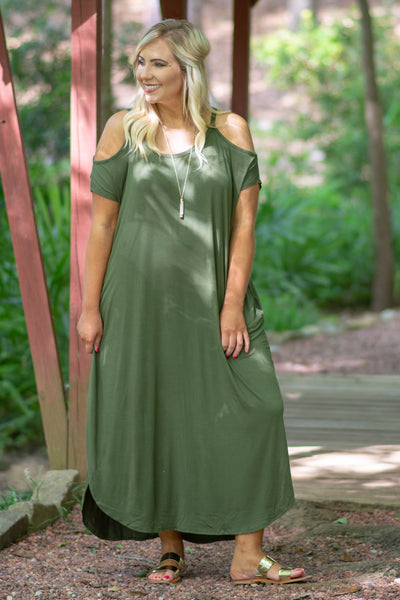 Leave Them Speechless Maxi Dress, Olive