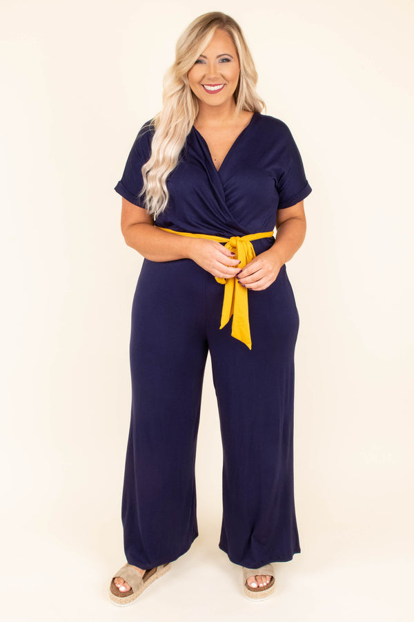 No More Chances Jumpsuit, Navy-Mustard