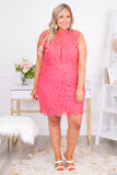 sleeveless, high neck, dress, short dress, figure flattering, lace, hot pink, formal dress, comfy, cute