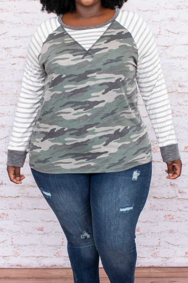 top, camo, stripes, grey, long sleeve, patterns, prints, neutral, figure flattering