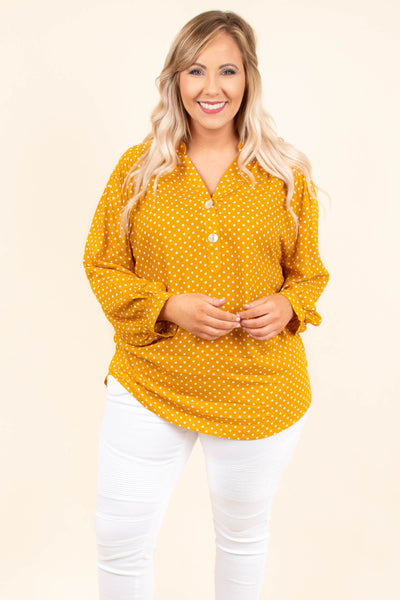 shirt, long sleeve, curved hem, vneck, quarter button down, mustard, white, polka dots, bubble sleeves