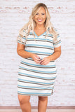 dress, short, short sleeve, vneck, fitted, blue, white, brown, striped, comfy, spring, summer