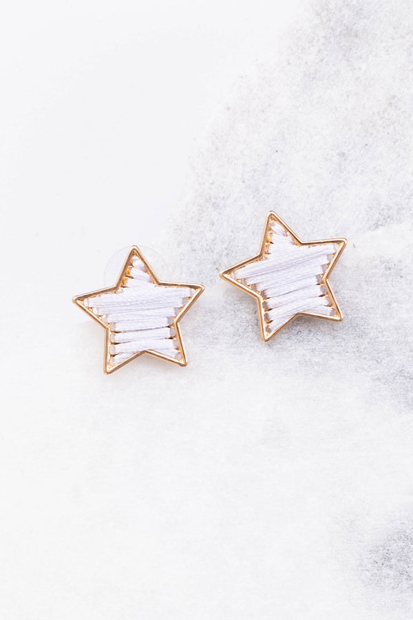 earrings, studs, stars, gold outline, threaded, white