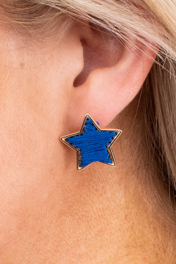 earrings, studs, stars, gold outline, threaded, blue