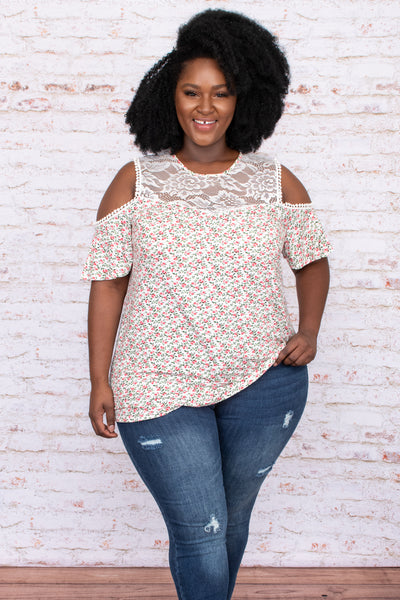 top, casual top, floral, white, short sleeve