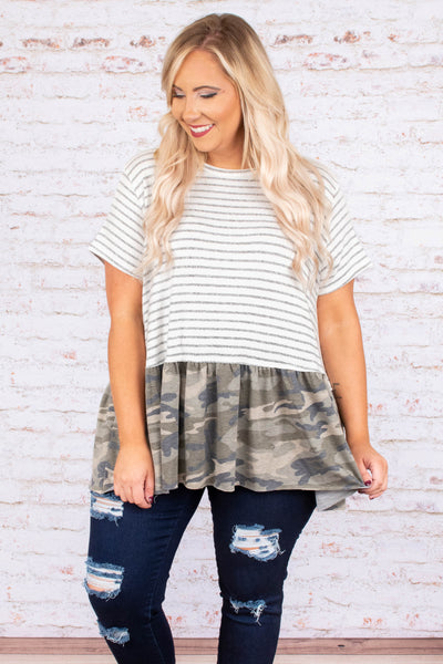 shirt, short sleeve, babydoll, flowy, white, gray, stripes, green, camo, colorblock, comfy