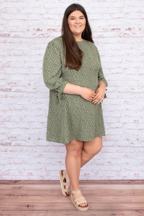dress, short, three quarter sleeve, tie cuffs, flowy, olive, polka dots, white, comfy