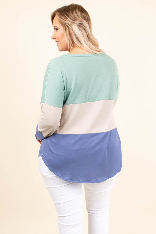 shirt, long sleeve, mint, tan, blue, colorblock, loose, comfy