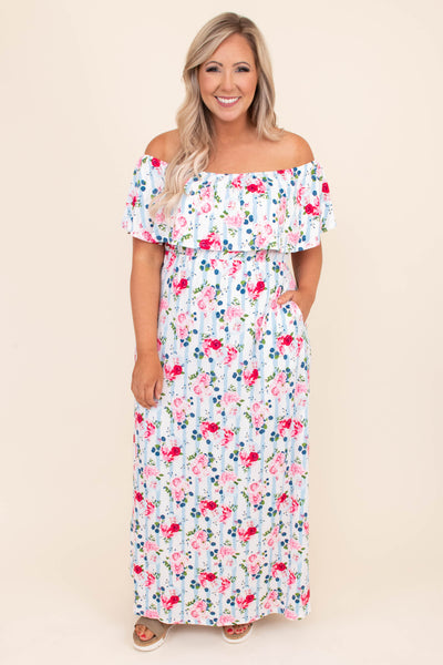 dress, maxi dress, floor length, ruffle top, off the shoulder, short sleeve, floral, stripes, pockets, blue, white, pink, summer, spring, comfy