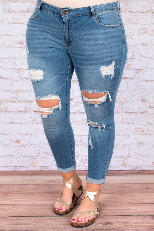 bottoms, jeans, skinny, distressed, blue, ankle length