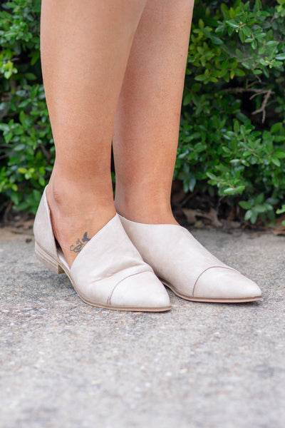 shoes, booties, beige, slip on