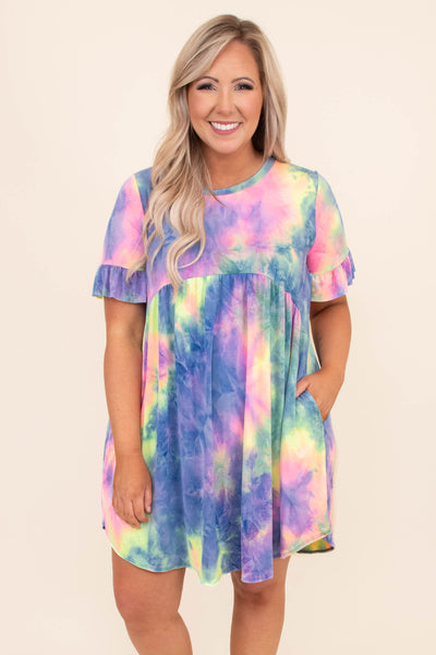 dress, short dress, baby doll, curved hemline, tie dye, rulle sleeve hem, neon pink, blue, green, yellow, loose, comfy