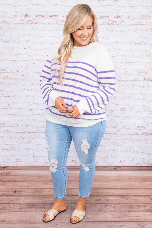 sweater, long sleeve, loose, white, purple, striped, comfy