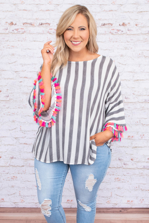 shirt, three quarter sleeve, bell sleeves, tassels, loose, black, white, stripes, comfy